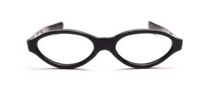 Ovale Damenfassung aus den 60er Jahren in Schwarz mit geraden Schläfenbügeln