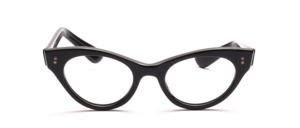 Schöne Vintage Cat Eye Brille in Schwarz mit hübschen Ziernieten am Mittelteil und an den Bügeln