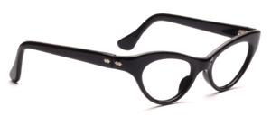 Klassische Vintage Cat Eye Brille in Schwarz mit silbernen Ziernieten seitlich