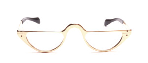 Half Moon Aluminum Reading Glasses in Gold with Straight Temple Bars