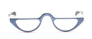 Half moon reading glasses in matte blue aluminum with straight temples
