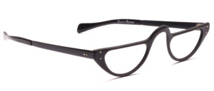 Half moon reading glasses in matt black aluminum with straight temples
