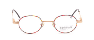 Slightly smaller oval metal frame in matt gold with a colorful patterned glass rim and flexible hinge
