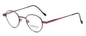 Small panto Frame in matt dark red with a colorful patterned glass rim