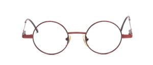 Small round metal frame in matt dark red with a reddish patterned glass rim