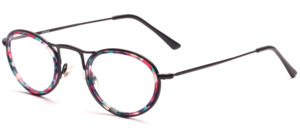 Oval metallic glasses for women in black with colorful inner cell ring