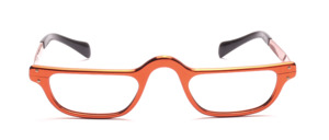 Men's reading glasses in copper-colored aluminum with temples