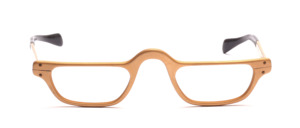 Men's reading glasses in matte gold with temples