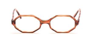 Achteckige 60er Jahre Brillenfassung für Damen in Transparent Braun