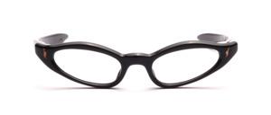 60er Jahre Brille für Damen in Schwarz mit goldenen Ziernieten und geraden Schläfenbügeln