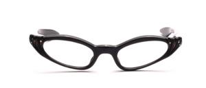 60er Jahre Brille für Damen mit geraden Schläfenbügeln in Schwarz mit Strass und geriffelter Oberflächenstruktur am Mittelteil