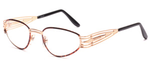 Elegant ladies frame in gold with brown patterned glass rim and unusual designed hangers