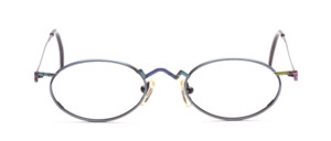 Blue gray metal frame in oval with colorful painted nose bridge and ironing