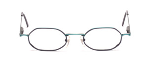 Youthful metal frame in turquoise green with blue glass rim and with flexible hinge