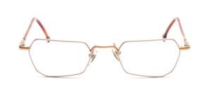 Metal frame in matt silver with bridges and jaw in matt gold with brown-plated temples