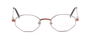 Children's glasses in silver gray with colorfully decorated nose bridge and ironing