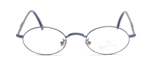 Oval metal frame in dark blue with a reinforced nose bridge and flexible hinge