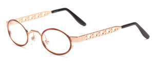 Small oval metal frame in gold with wide perforated arms and a brown patterned glass rim