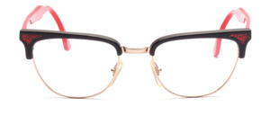 80s womens combination Frame in gold with black top bar and red temples