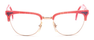 80s women's combination Frame in gold with pink patterned top bar and straps