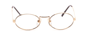 Oval metal frame in gold with a white patterned glass rim