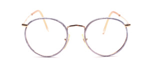 Classic mens Frame in gold with a blue patterned windorrand