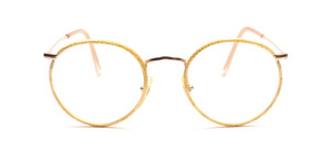 Classic mens Frame in gold with a yellow patterned windorrand