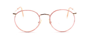 Classic mens Frame in gold with a pink patterned windorrand
