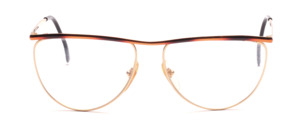 Oversized ladies' Frame in gold with a brown patterned upper edge and straps