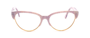 Combination goggles from the 80s in Cat Eye shape with a golden metal frame and a top bar and temples in light purple