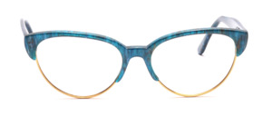 Combination goggles from the 80s in Cat Eye shape with a golden metal frame and a top bar and temples in turquoise green