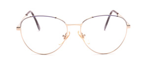 Gold 1980s womens glasses with accents in purple and white