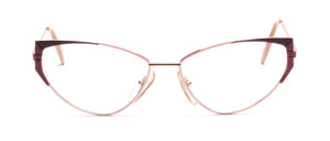 Cat Eye gold metal women's glasses with pink and purple side decor