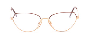 90s women's glasses in gold with red lens rim