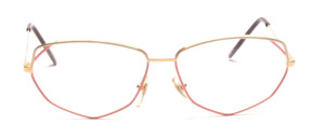 80s ladies frame in gold metal with a rim in light yellow and pink lacquered