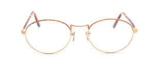 High-quality oval metal frame in gold with havana-colored glass rim and acetate straps