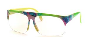 Tolle halbrandlose 80er Jahre  Windschutz - Sportbrille mit klaren Flash verspiegelten Scheiben