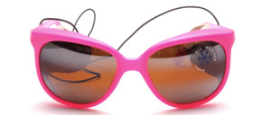 Beautiful pink glacier glasses with hooks and genuine white leather side protection