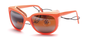 Beautiful glacier winter sport sunglasses with hook hangers and genuine white leather side protection