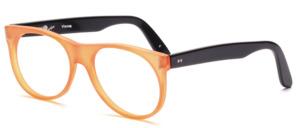 80er Jahre Designerbrille von Schau Schau aus Wien mit einem Mittelteil in matt Orange und schwarzen Bügeln
