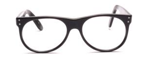 Schwarze 80er Jahre Designerbrille von Schau Schau aus Wien mit oben angesetzten Bügeln und hübschen Ziernieten an den Seiten