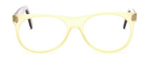 80er Jahre Designerbrille von Schau Schau aus Wien mit einem Mittelteil in matt Zitronengelb und schwarzen Bügeln