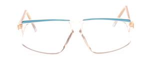 Transparente 80er Jahre Fassung mit Türkisblauer Linie vorne und Türkisblauen Bügeln