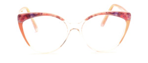 Große 80er Jahre Vintage Damenfassung in Cat Eye Form in Transparent mit Perlmuttrosa Dekor oben und an den Bügeln