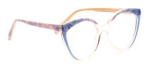 Große 80er Vintage Damenfassung in Cat Eye Form in Transparent mit Perlmuttblauem Dekor oben und an den Bügeln