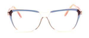 Damenfassung in Transparent mit Akzenten in Blau und Braun<br /> Die Bügel sind Apricot