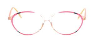 Leicht ovale Damenfassung in Transparent mit Pink und Dekor in Blau-Schwarz