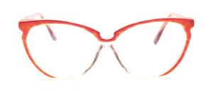 80er Jahre Cat Eye Brille in Transparent mit Havannafarbenen Seiten und rotem Dekor oben