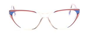 Schicke 80er Jahre Cat Eye Brille in Transparent mit Blau und Rosa abgesetzt