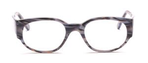 Dominante Damenbrille aus Silbergrau marmoriertem Acetat mit breiten Bügeln